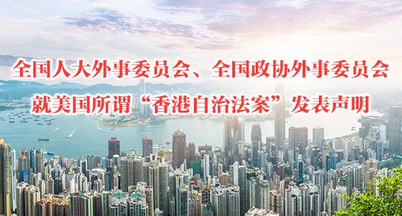 """全国人大外事委员会、全国政协外事委员会就美国所谓""""香港自治法案""""发表声明"""